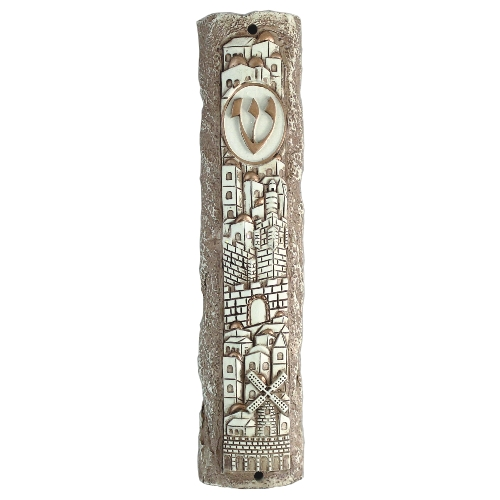 Polyresin Stonelike Mezuzah 12cm- Jerusalem Motif