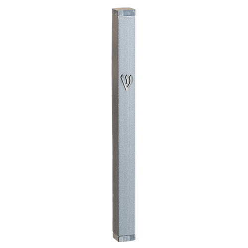 Aluminum Thin Mezuzah 12 Cm With Stoppers- Gray