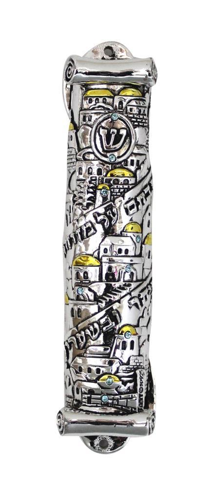 "Silvered & Golden Polyresin Mezuzah 15 Cm - Scroll Shape ""jerusalem"" Design Inlaid With Stones"