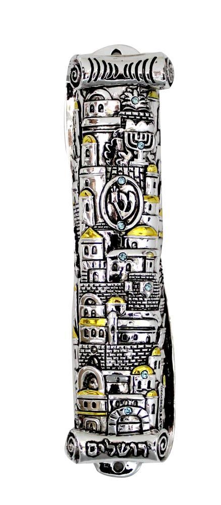 """Polyresin Mezuzah 15cm- """"jerusalem"""" Design"""