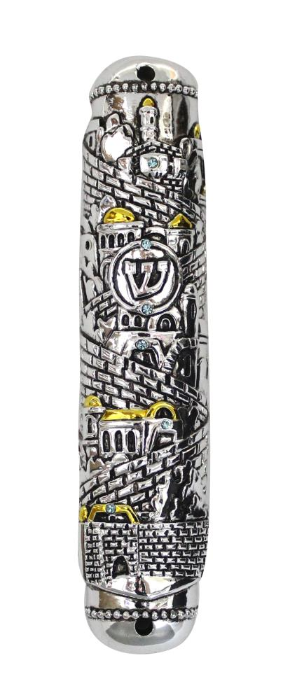 """Silvered And Golden Polyresin Mezuzah 15 Cm- """"jerusalem"""" Design Inlaid With Stones"""