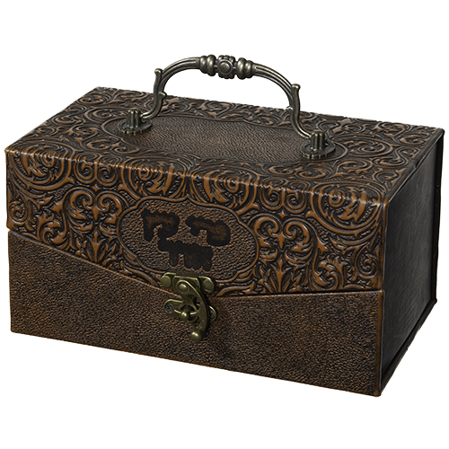 "Faux Leather Etrog Box Metal Handle & Lock 11x20x12 Cm - ""decorations"""