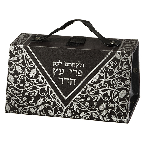 Faux Leather Etrog Box 11*19*13 With Silver Print