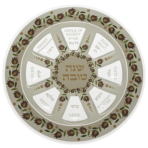 Elegant Glass Rosh Hashana Plate 35 Cm