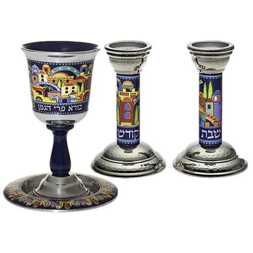 Aluminum Set: Kiddush Cup16 Cm With Candlesticks 14 Cm