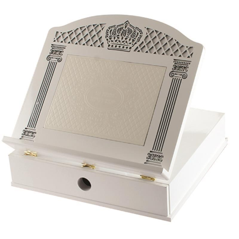 Luxurious White Wooden Shtender 35x40 Cm- With Sha'ar Vilna Faux Leather Plaque  & Drawer
