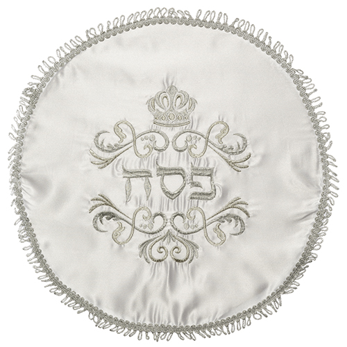 "Elegant White Satin Passover Cover With Silver Embroidery   45 Cm - ""crown"""