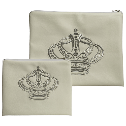 "Beige Faux Leather Tallit And Tefillin Set - ""crown"" Silvered Embroidery 30x37 Cm"