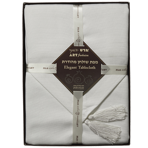 "Linen Tablecloth 220*140cm With Runner ""shabbat And Holiday""- White"