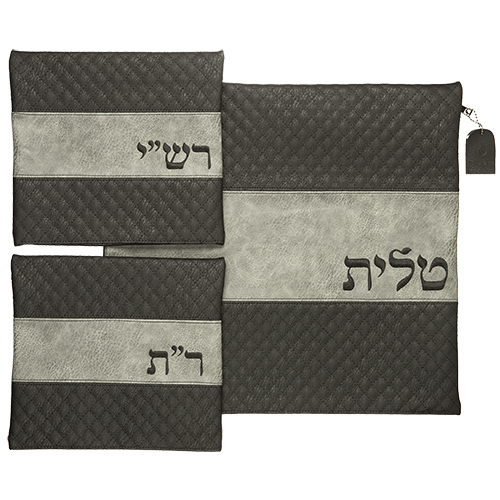Leather Like Talit - Tefilin Set 41*38 Cm With Embroidery
