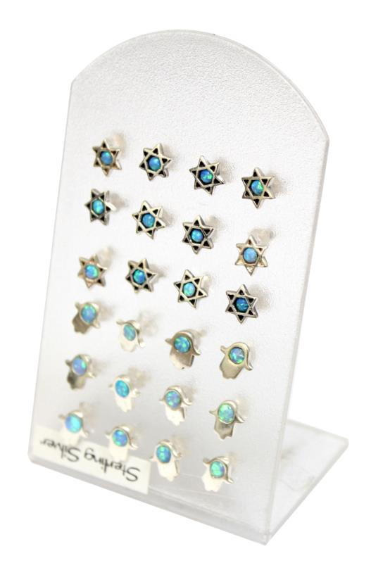Sterling Silver Pair Of Earrings Hamsa/star Of David With Opal (12 On Display)