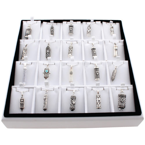 Full Display- 20 Mezuzah Pendants With Chains