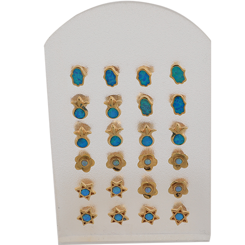 Set Of Earrings- Assorted Designs With Turquoise Opal Stone (12)