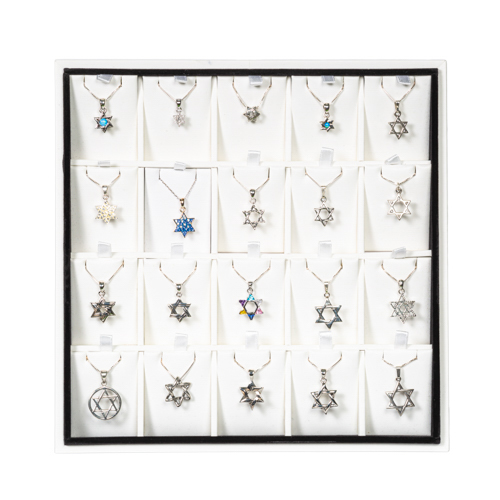 Full Display Of Magen David Pendants With Chains- Assorted Designs