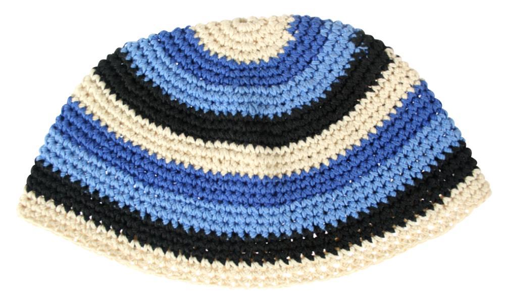 Frik Kippah 21cm- Blue With Light Blue Stripe