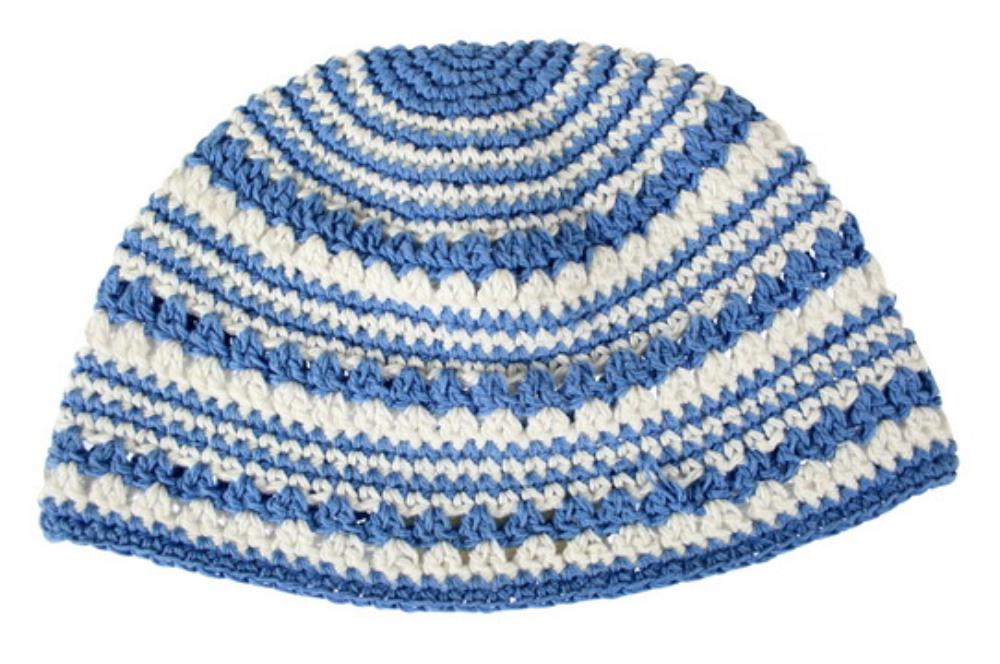 Frik Kippah 22 Cm- Blue With White Stripe