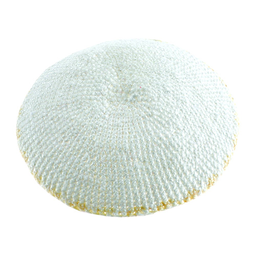 C Knitted DMC Kippah 13 Cm- White With Bege Around