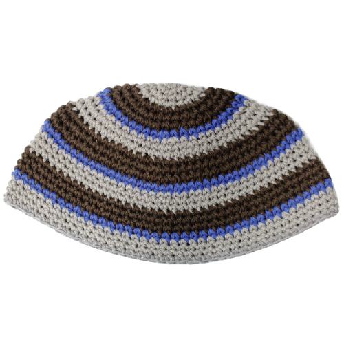 C Frik Kippah 21 Cm- Gray And Brown Stripes