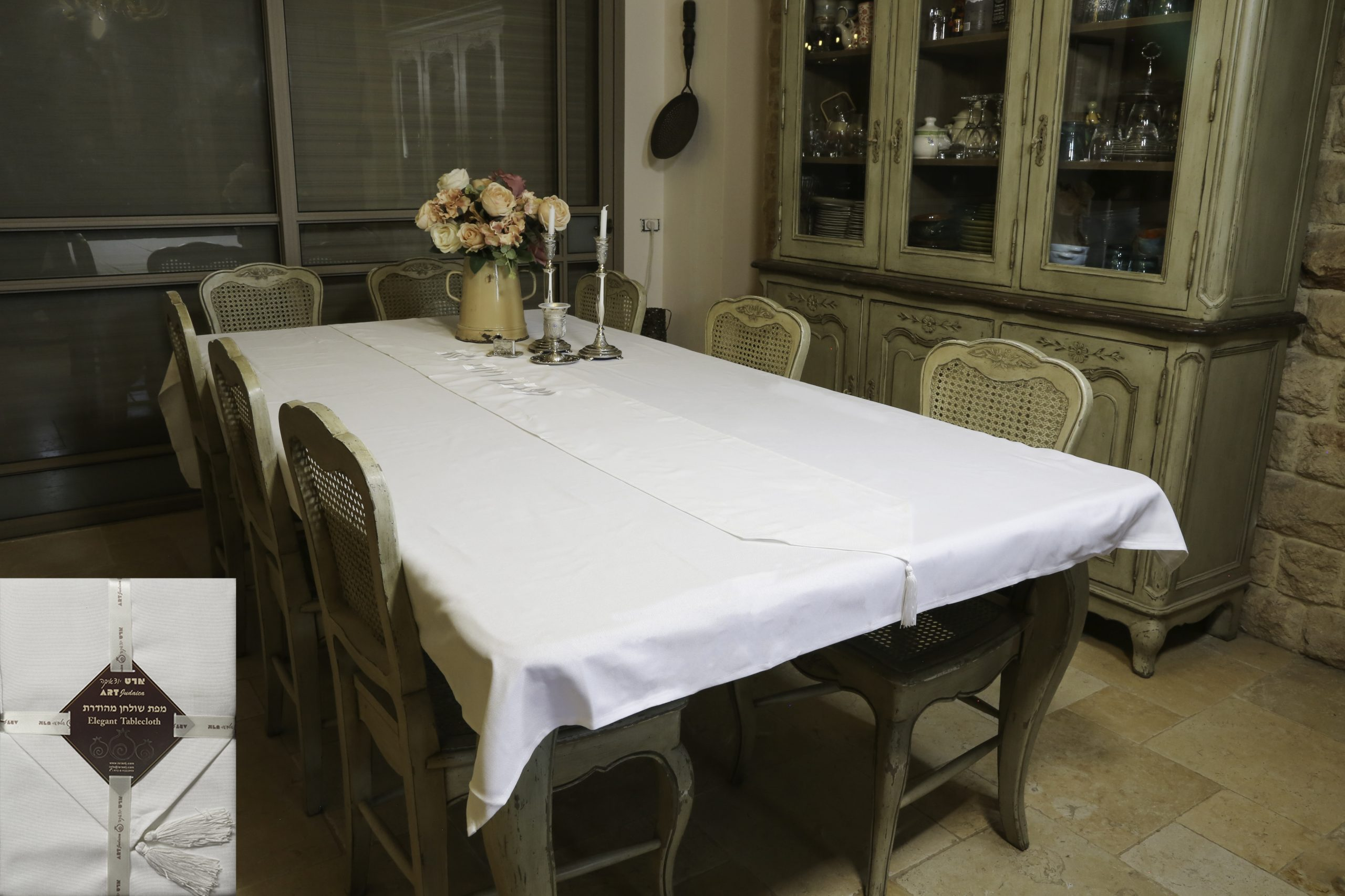 "Linen Tablecloth 280*140cm With Runner ""shabbat And Holiday""- White"