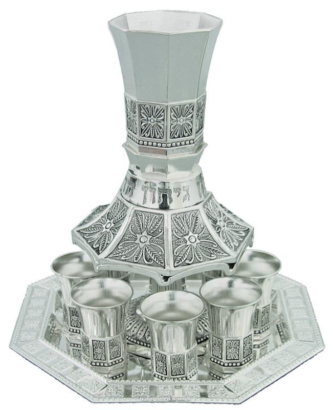 Nickel Plated Wine Divider With Kiddush Cup And 8 Small Kiddush Cups