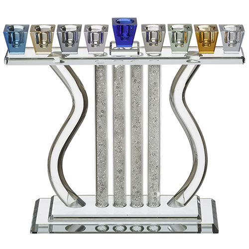 Crystal Elegant Hanukkiah - Colorful