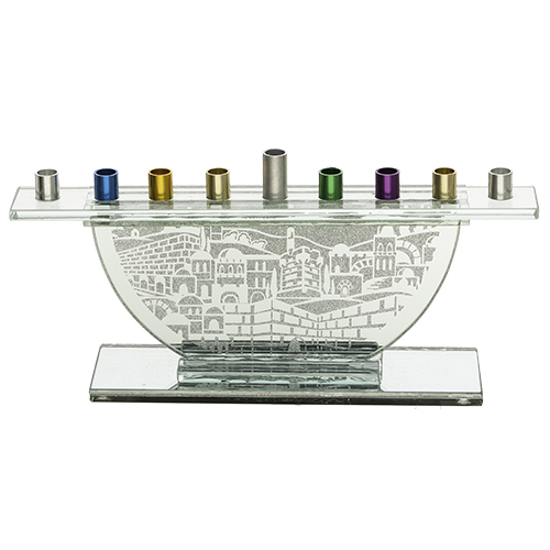 Glass Menorah For Candles With Colorful Branches 11.5x26 Cm