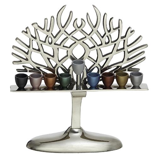 Aluminum Hanukkiah 30 Cm With Colorful Branches