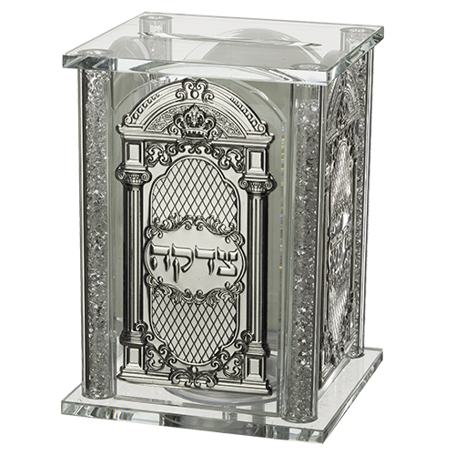 Crystal Tzedakah Box With Plates 13*9 Cm