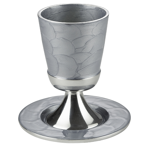 Aluminum Kiddush Cup 9 Cm With Saucer - Silver