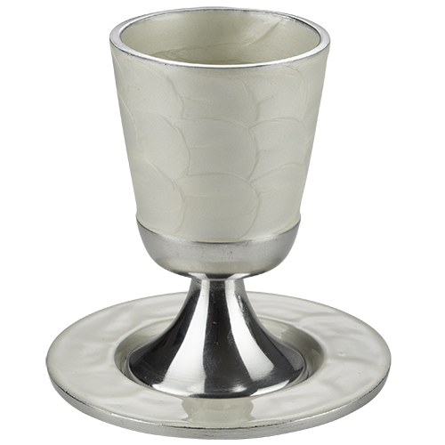 Aluminum Kiddush Cup 9 Cm With Saucer - White