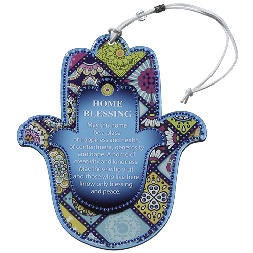 Epoxy Hamsa English Home Blessing 19x15 Cm - Mosaic Motif