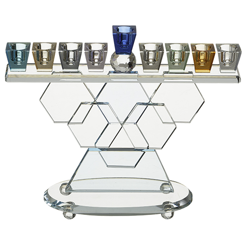 Crystal Elegant Hanukkiah - Colorful