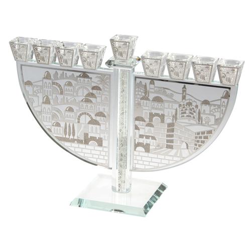 Crystal Elegant Menorah With Plaque 29*21cm-jerusalem Theme