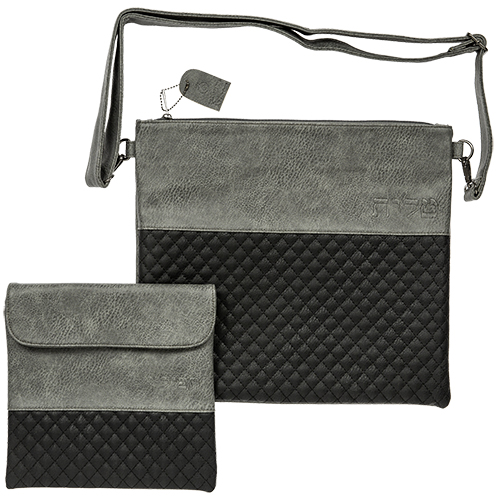 Leather Like Talit & Tefilin Set 38*31 Cm - Dark Gray