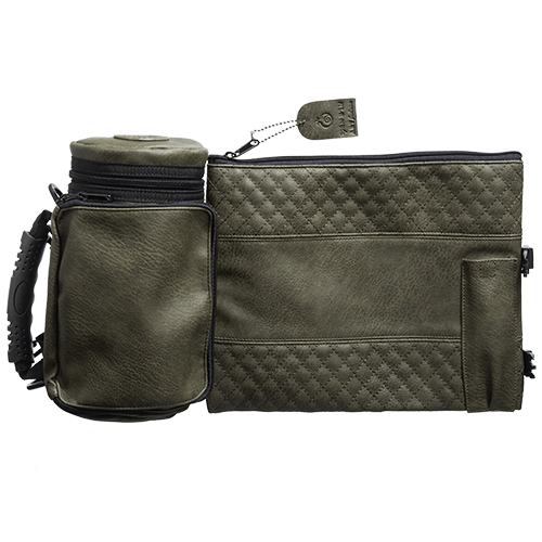 "Leather- Like Thermal Tefillin & Tallit Protector Container ""tik-taf"" 22 Cm- Olive Green"