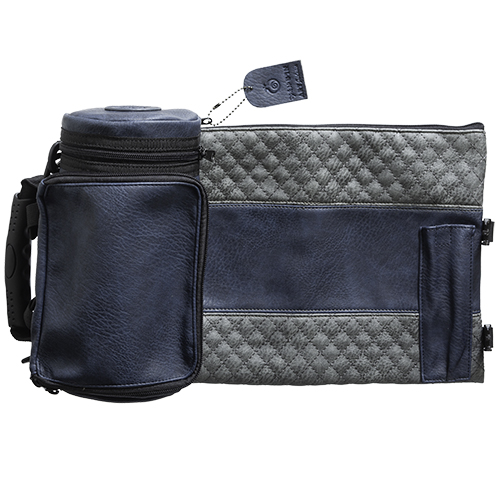 "Leather- Like Thermal Tefillin & Tallit Protector Container ""tik-taf"" 22 Cm- Dark Blue & Gray"
