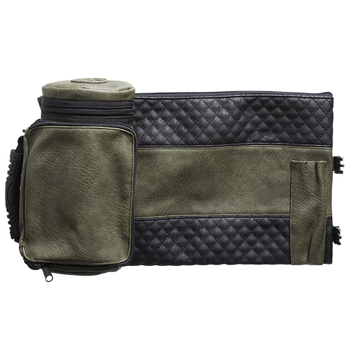 "Leather- Like Thermal Tefillin & Tallit Protector Container ""tik-taf"" 22 Cm- Black & Olive Green"