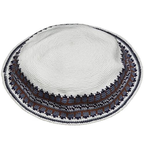 C Knitted D.M.C Kippsh 22 cm - White with GRAY   &  BLOU Around