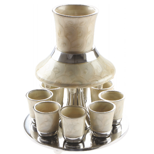 Aluminium Wine Divider With 8 Kiddush Cups 21cm- Pearl