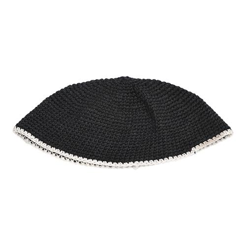 Frik Kippah 22cm- Black With White Stripe
