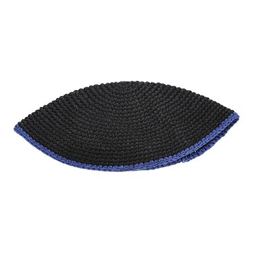 Frik Kippah 22cm- Black With Blue Stripe