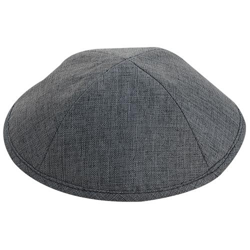 Fabric Elegant Kippah Dark Gray Size 2 17.5 Cm