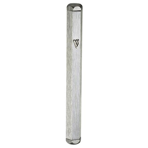 Aluminum Mezuzah 12 Cm- Silver