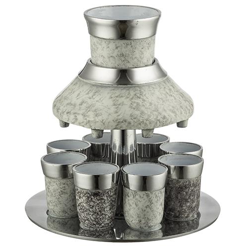 Aluminium Wine Divider With 8 Kiddush Cups 21cm- Pearl