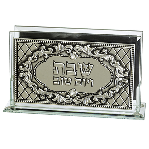 """Glass Matches Holder With Plaque """"candle Lighting"""" 12.5*8 Cm"""