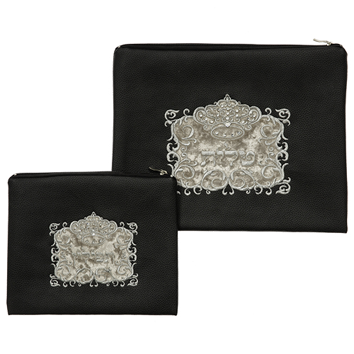 Black Faux Leather Tallit And Tefillin Set Laid With Stones- 30x37 Cm