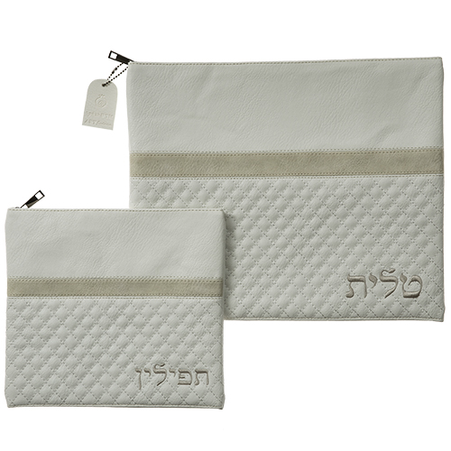 Leather Like Talit - Tefilin Set 36*29 Cm With Embroidery