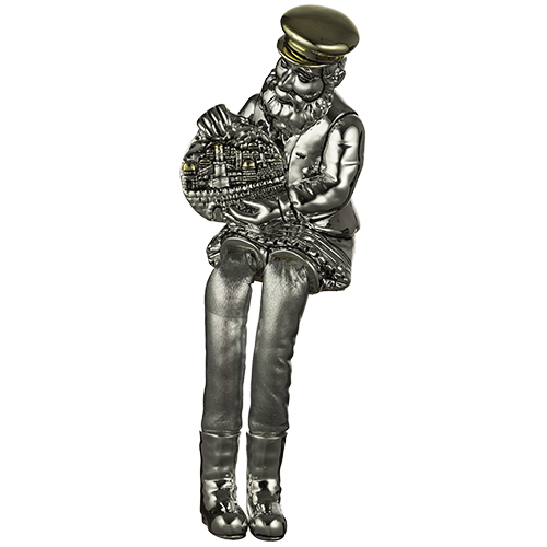 Polyresin Sitting Hassidic Figurine With Black Cloth Legs 26 Cm