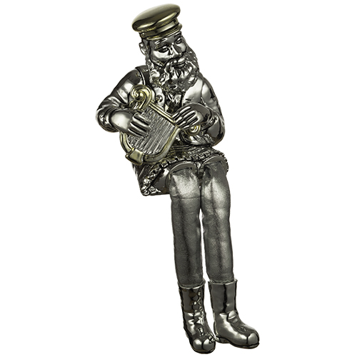 Polyresin Sitting Hassidic Figurine With Black Cloth Legs 26 Cm - Harp Player