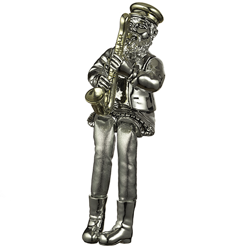 Polyresin Sitting Hassidic Figurine With Black Cloth Legs 26 Cm - Saxophone Player